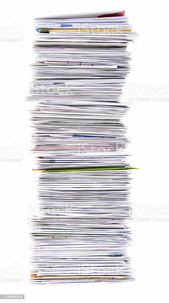 Big Stack of Unpaid Bills and Envelopes Isolated on White royalty-free stock photo