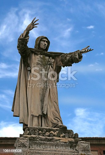 Big statue of Savonarola Girolamo in Ferrara in Italy.The cause of death is Hanged and burned