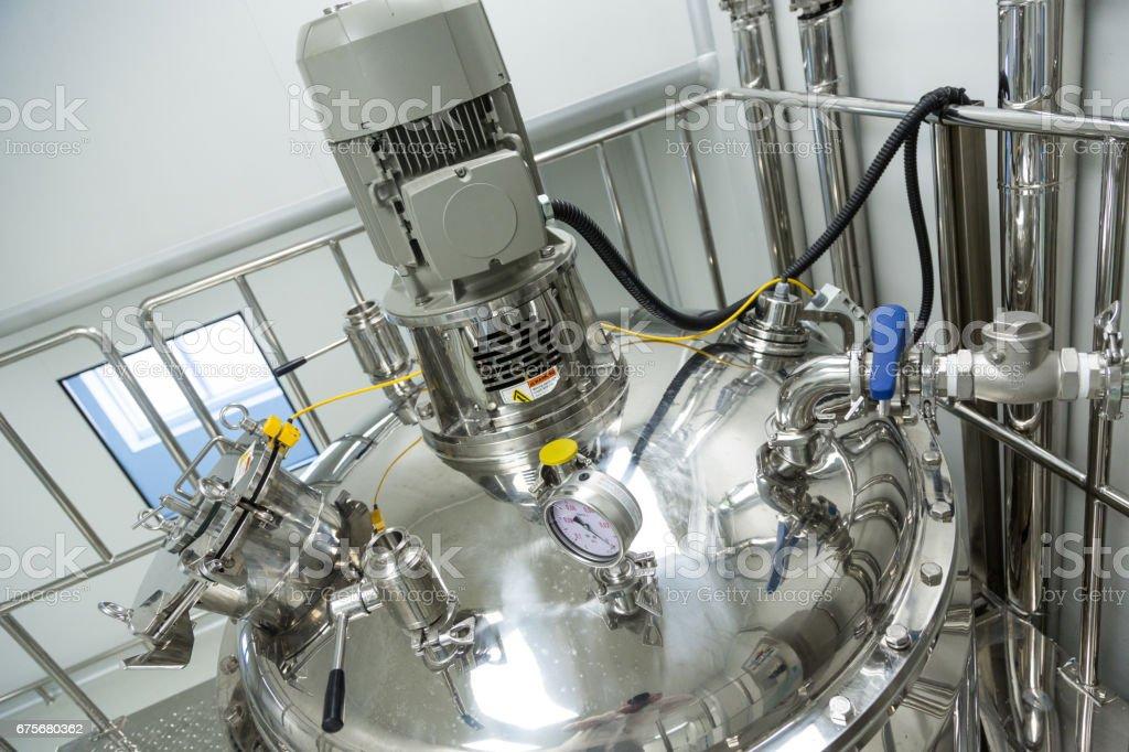 big steel pressure tank with pressure meter royalty-free stock photo