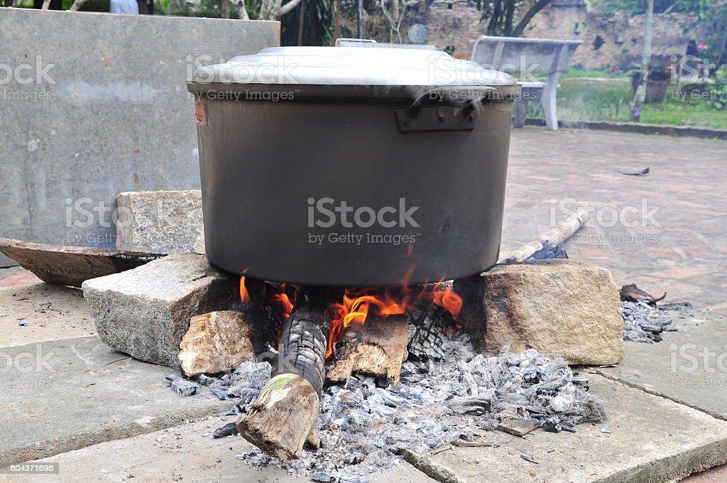 Big stew pot of Chung cake or Vietnamese rice cake stock photo