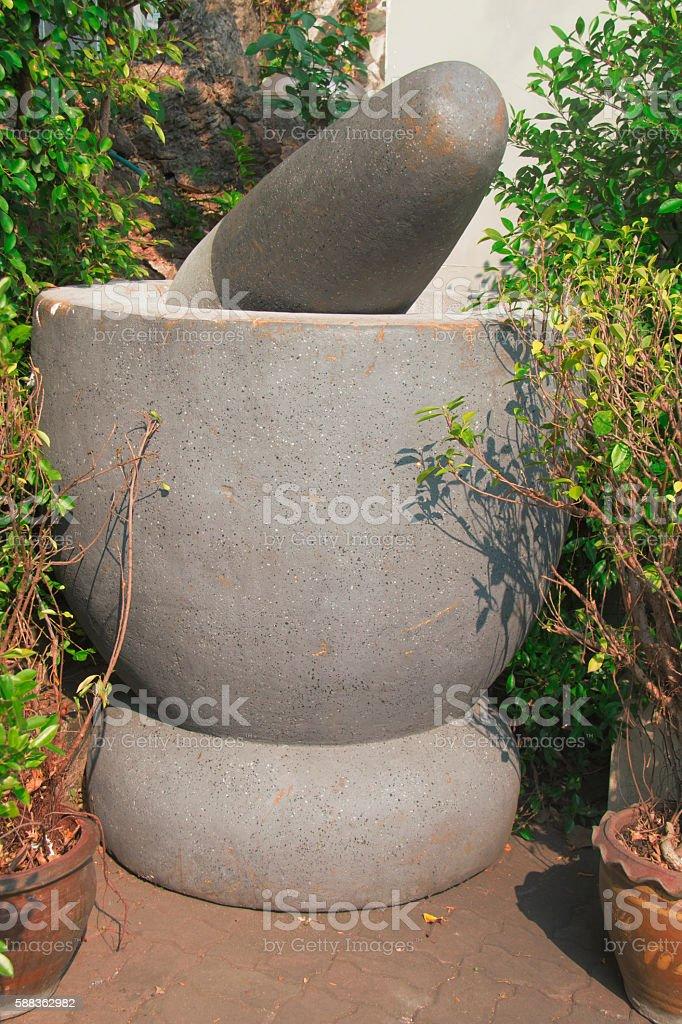 big stone mortar stock photo