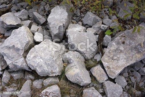 Big stones in the stone quarry. Close-up.