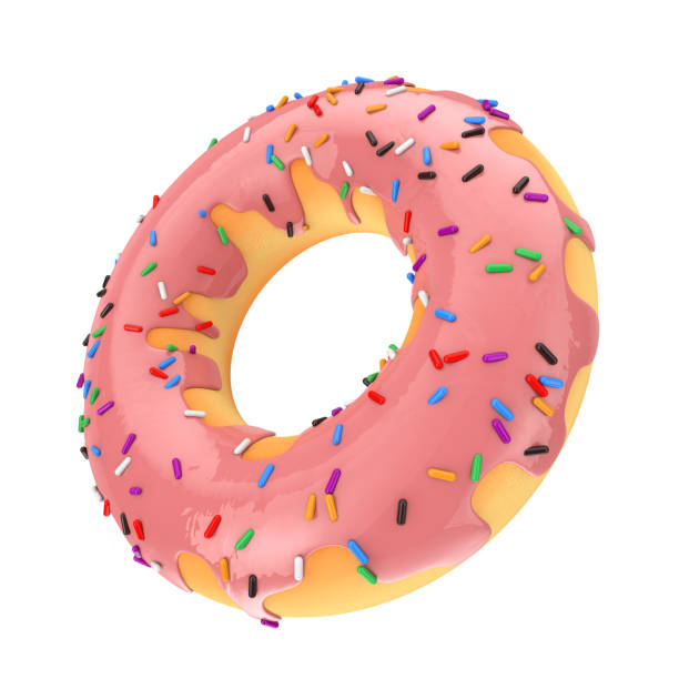 Big Strawberry Pink Glazed Donut with Color Sprinkles. 3d Rendering stock photo