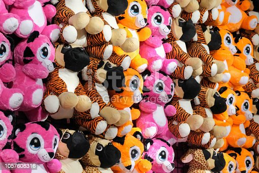 Stuffed animals hanging at the fair in the Netherlands