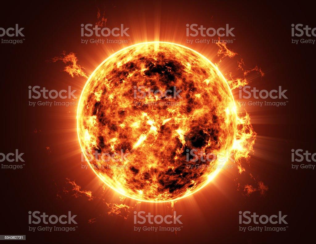Sterne im Weltraum mit großen Sonne – Foto
