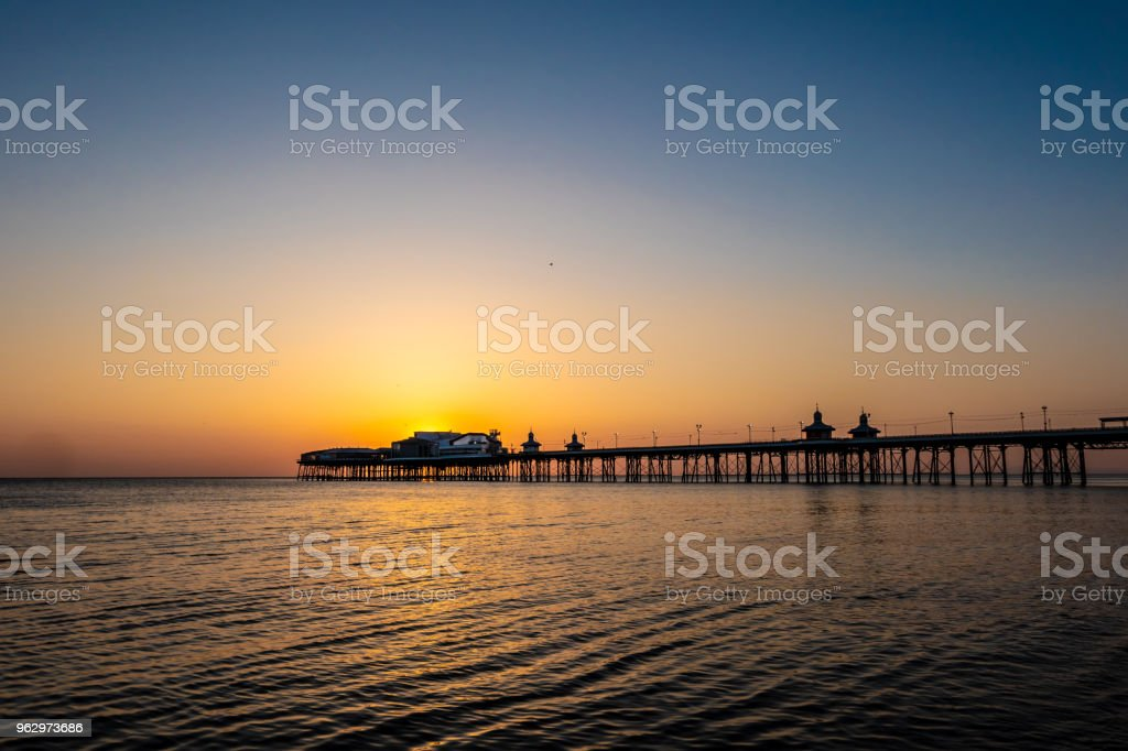 Big sunset in Blackpool, Lancashire stock photo