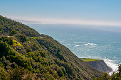 Big Sur headlands and surf on a sunny day along the central coast of California.