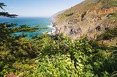 Famous touristic destination. Cliffs and Pacific Ocean, Big Sur, California