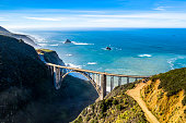 Big Sur Bridge Coastline California Highway 1 Aerial Drone Shot Ocean in the back