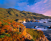 The Shoreline of The Big Sur Coast With Crashing Surf of the Pacific Ocean,  California
