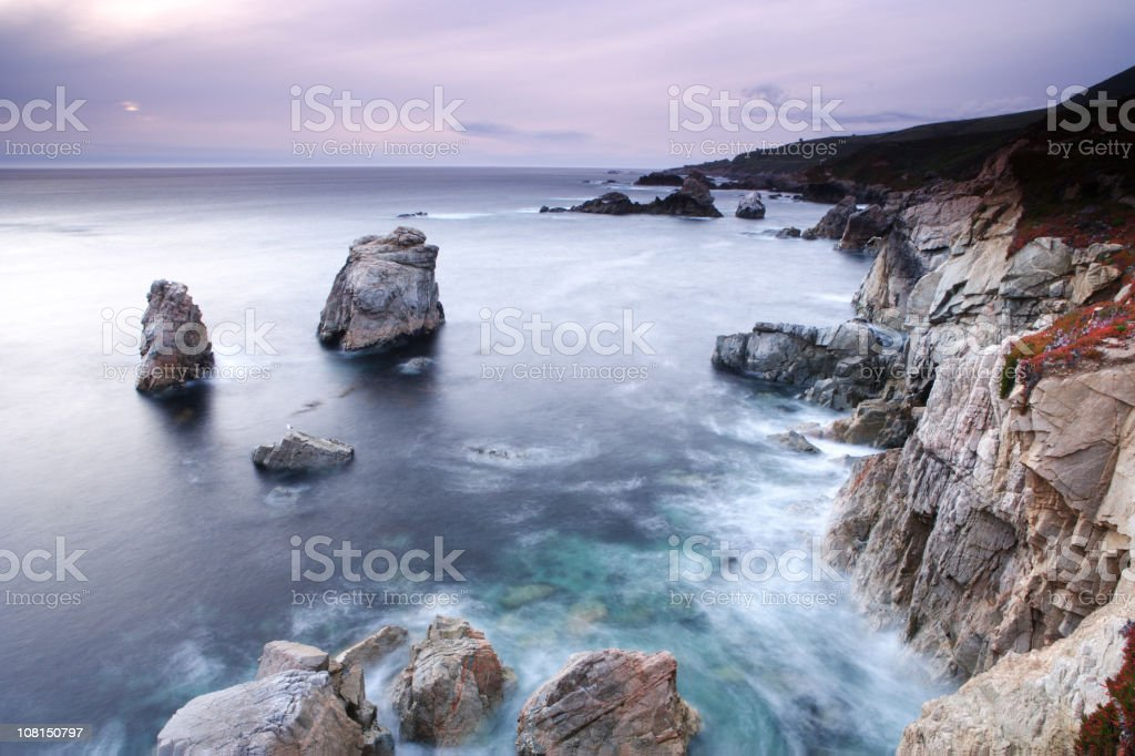 Big Sur Coastline and Ocean on Cloudy Day royalty-free stock photo