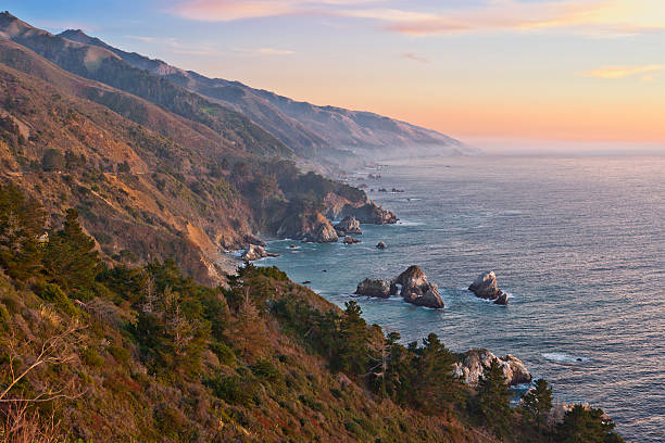 big sur coastline at sunset - central coast california stock photos and pictures