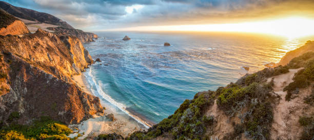 Big Sur coastline panorama at sunset, California, USA stock photo