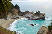 Small bay and waterfall in Julia Pfeiffer Burns State Park California