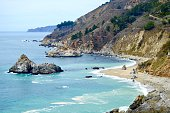 Beautiful rugged Big Sur coastline at Julia Pfeiffer Burns State Park along the Pacific Coast Highway in California