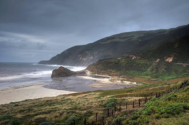 big sur rock coast - central coast california stock photos and pictures