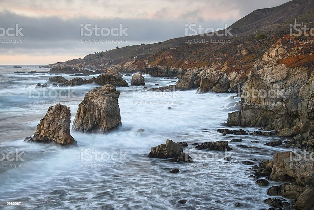 Big Sur Rocky Coast and Waves at Dusk stock photo