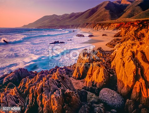 Rocky shoreline of Big Sur coastline south of Carmel, California