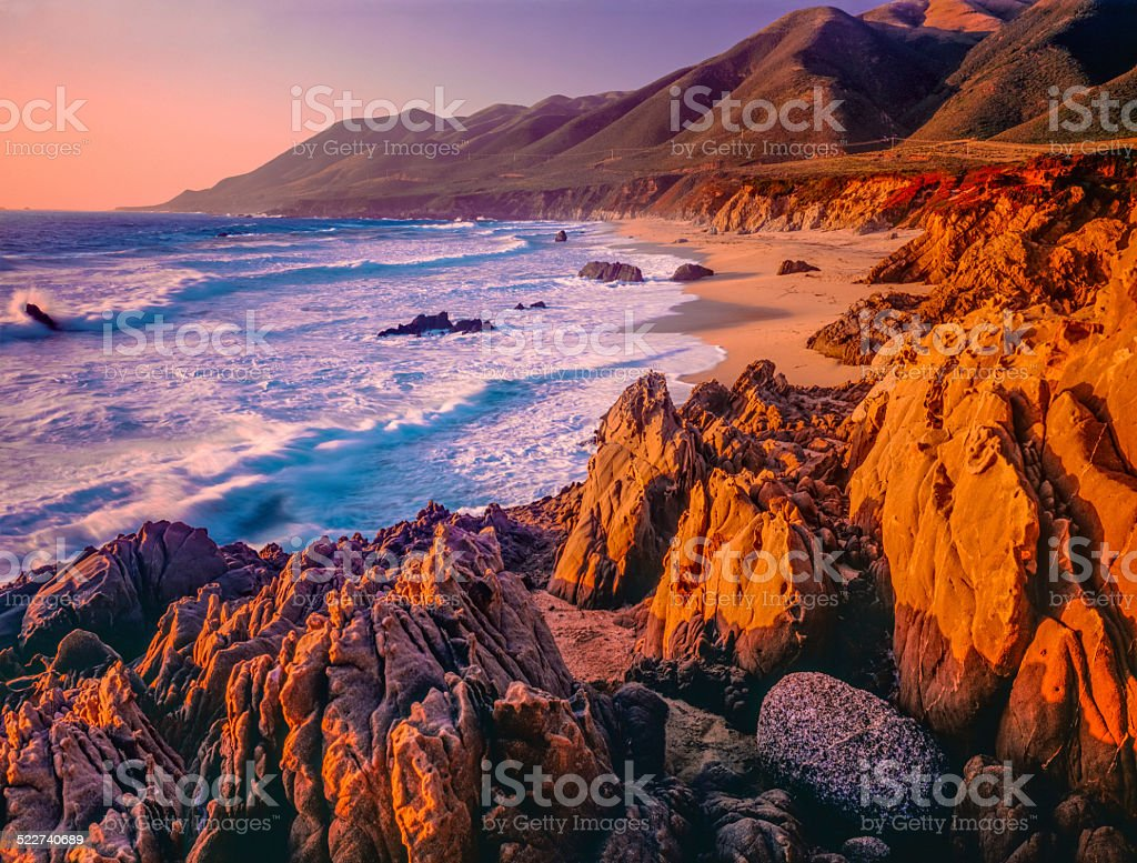 Big Sur sunset seascape of California coastline,rocky,beach (P) stock photo