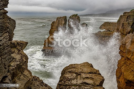The Pancake Rocks are heavily eroded limestone cliffs at Dolomite Point just south of Punakaiki, on New Zealand's South Island