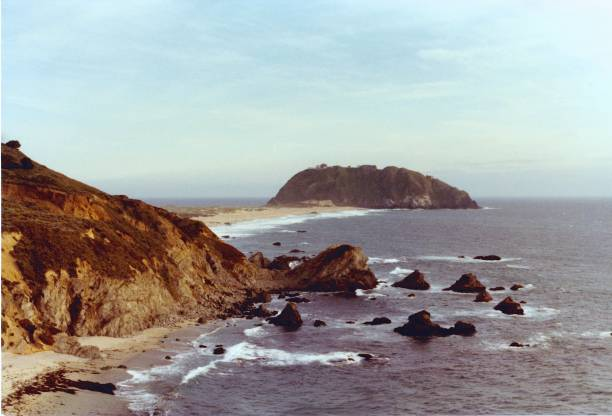 Big Sur:Point Sur and light station from the north stock photo