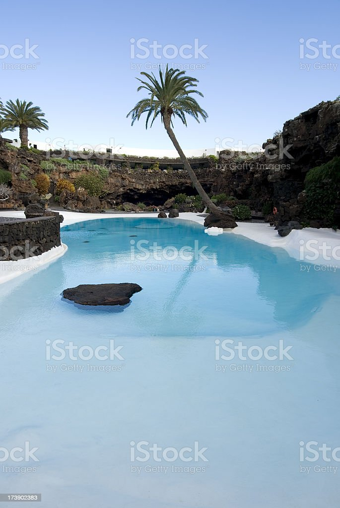 Big Swimming Pool On Lanzarote royalty-free stock photo