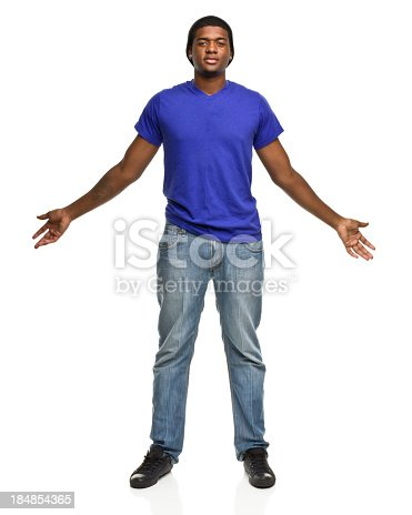 istock Big Tall Young Man With Arms Out 184854365