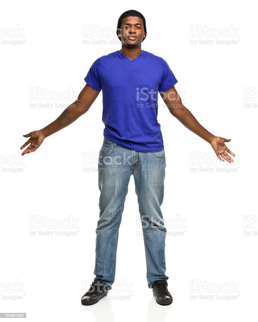 Big Tall Young Man With Arms Out stock photo