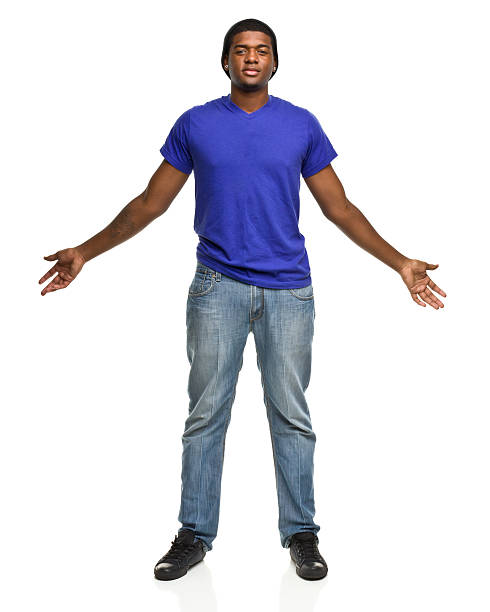 big tall young man with arms out - arms outstretched stock photos and pictures