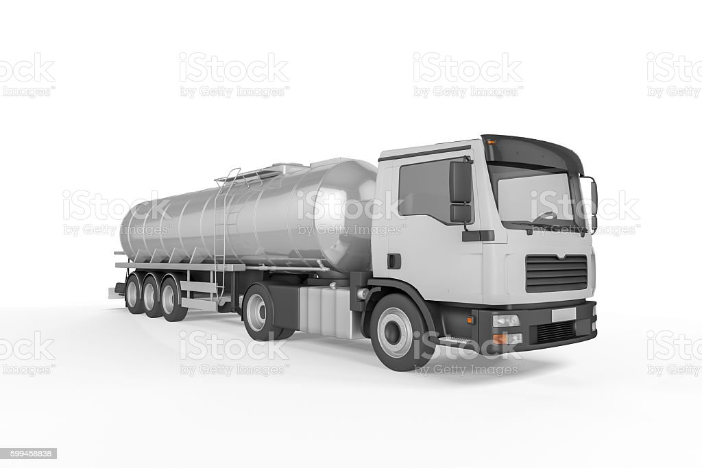 Big Tanker Truck isolated on white background stock photo