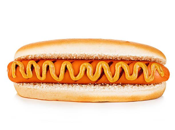 Big tasty appetizing Hot dog close-up isolated. Fastfood. stock photo