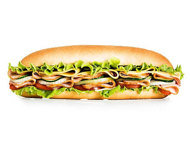 Big tasty sandwich close-up isolated on a white background. stock photo