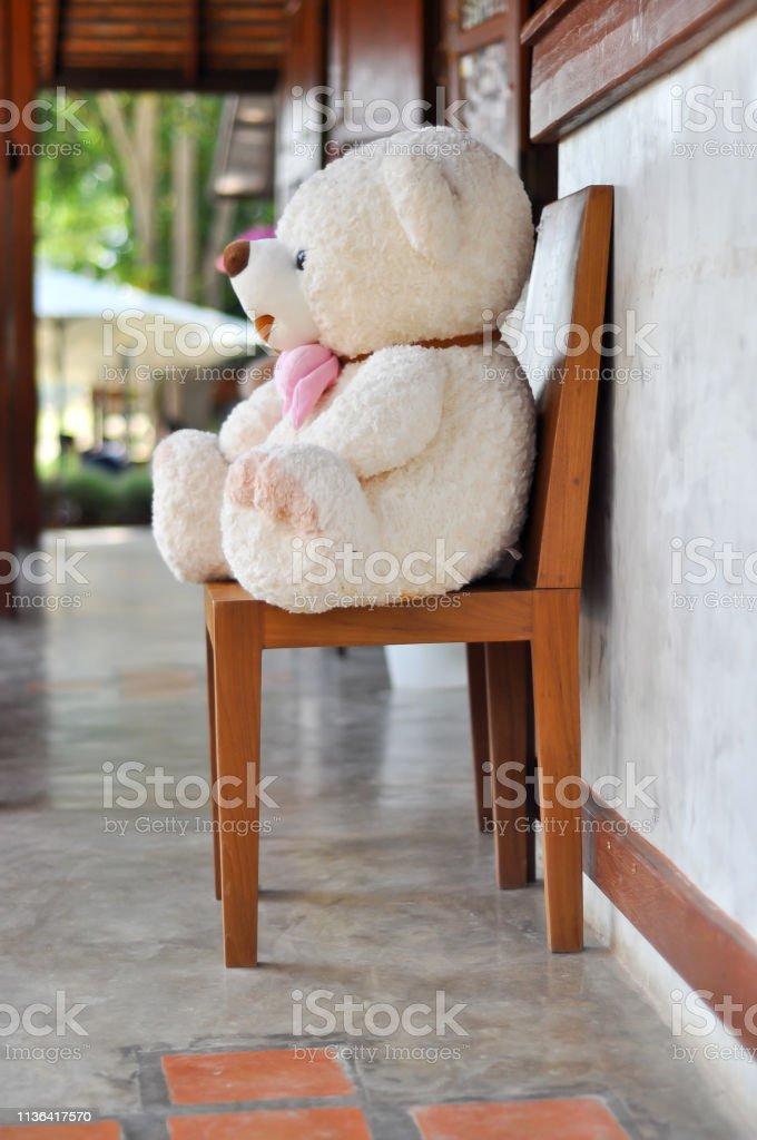 the big teddy bear sit on the chair