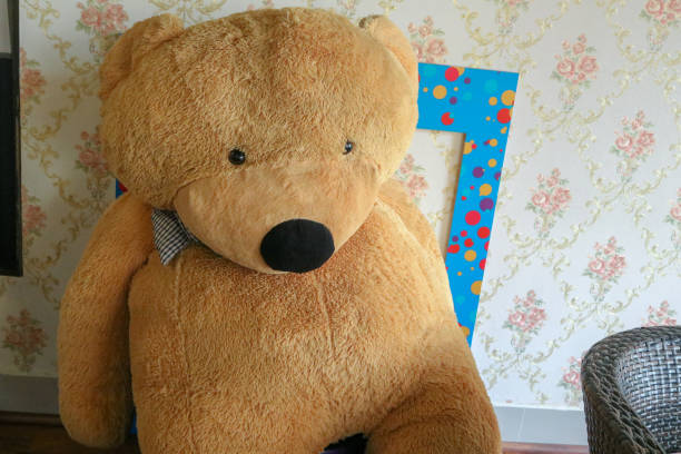 Big teddy bear toy inside the room for decoration Big teddy bear toy inside the room for decoration christmas teddy bear stock pictures, royalty-free photos & images