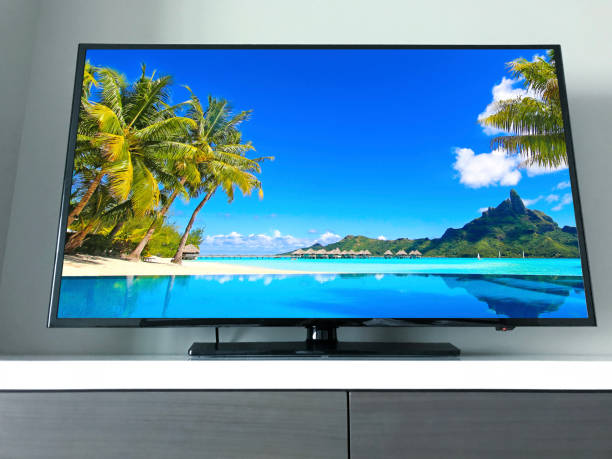 Big Television with Bora Bora Photo stock photo