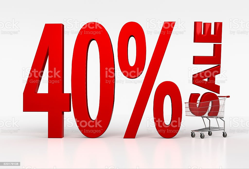 Big text of 40 percent off discount in shopping cart stock photo