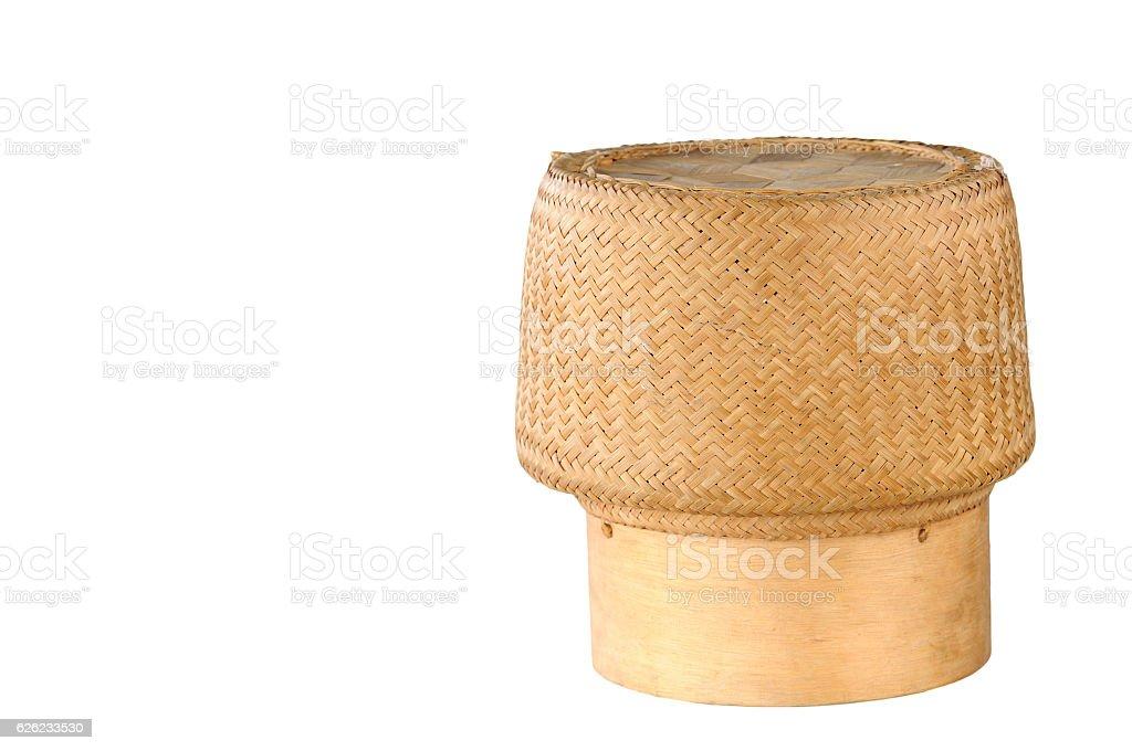 Big Thai sticky rice wicker on white background stock photo