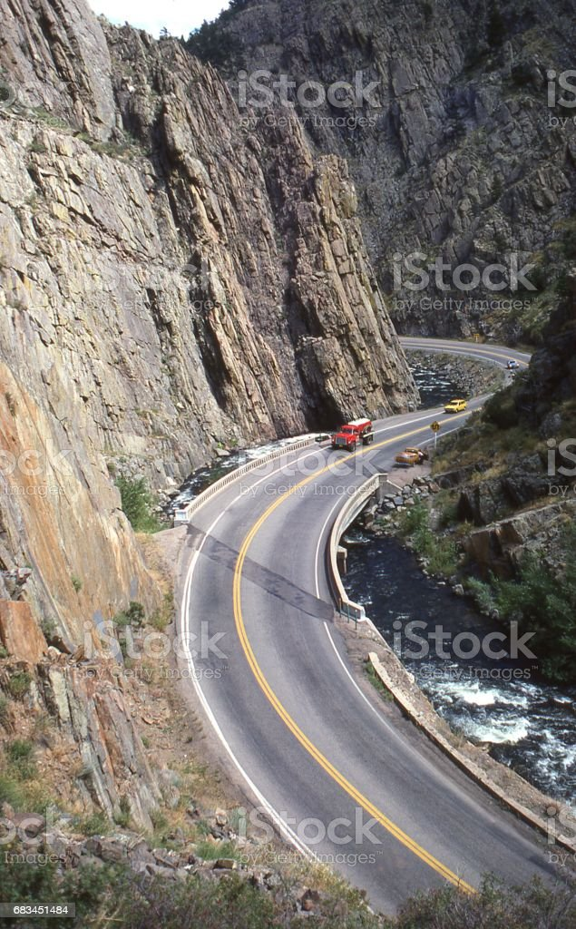 Big Thompson Canyon highway west of Fort Collins Colorado as it was before major floods in the 1980s stock photo