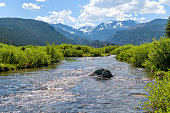 A Spring view of broad and rushing Big Thompson River at Moraine Park in Rocky Mountain National Park, Colorado, USA.