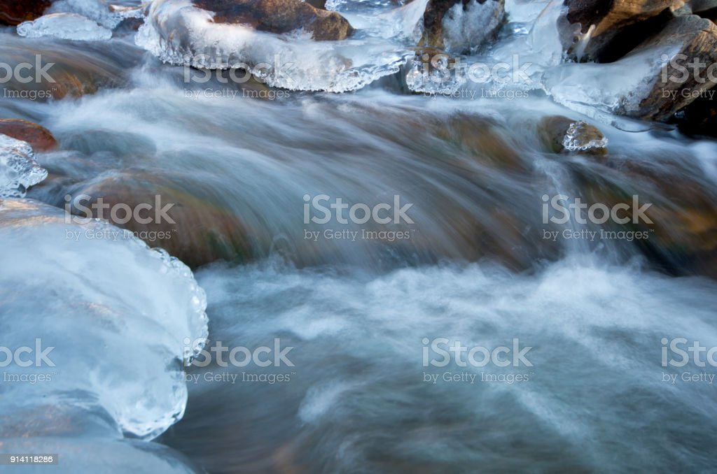 Big Thompson River Flowing in Rocky Mountain National Park in the Winter stock photo