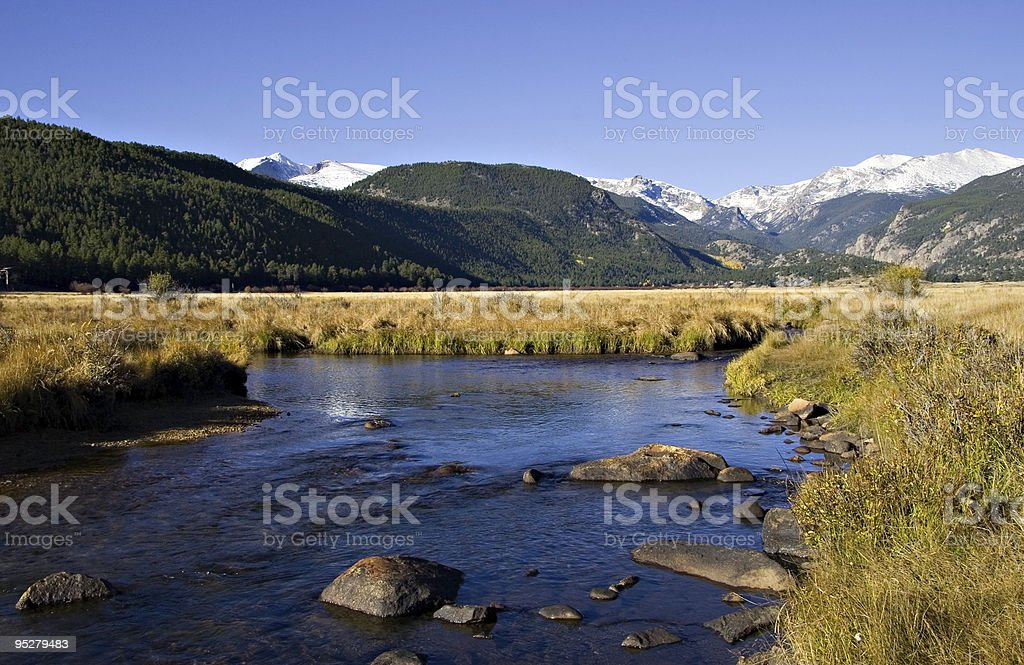 Big Thompson River in Moraine Park, Rocky Mountain National Park stock photo