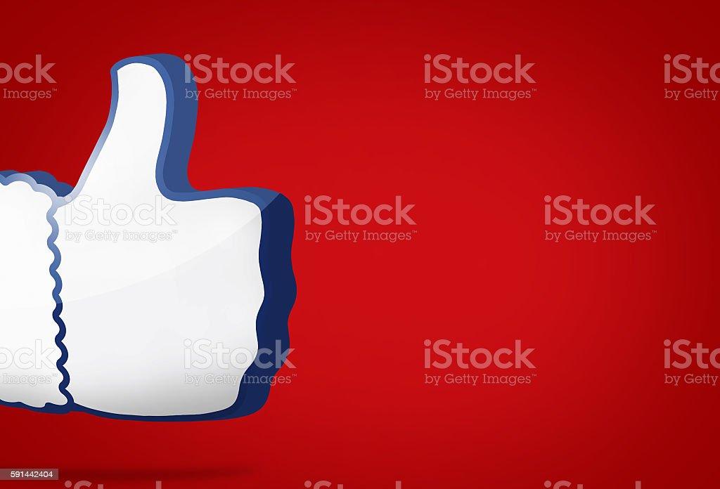 big thumb like icon 3D render blue design stock photo