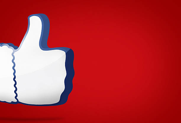 big thumb like icon 3D render blue design – Foto