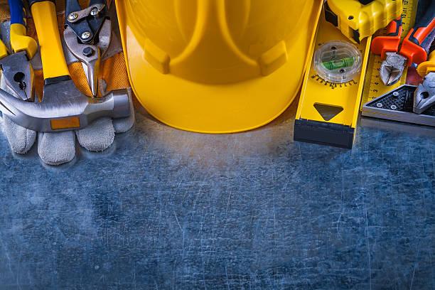 커요 있는 도구들 긁혔습니까 빈티지 메탈 배경기술 constructio - 건설 장비 뉴스 사진 이미지