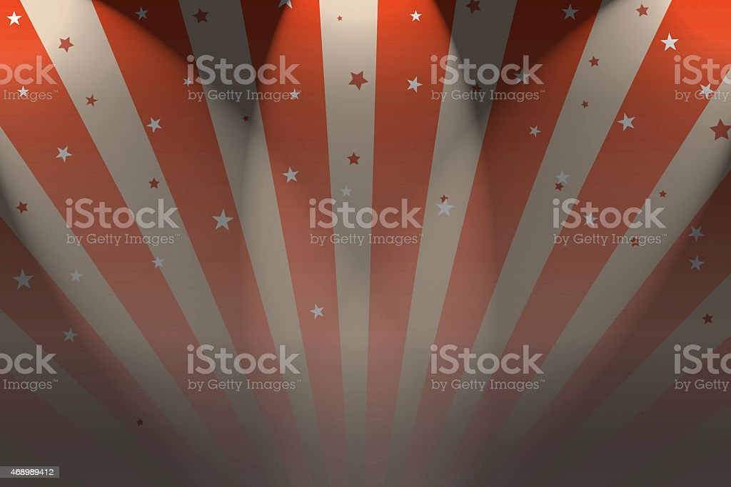 Big Top circus background with spotlights and stars stock photo