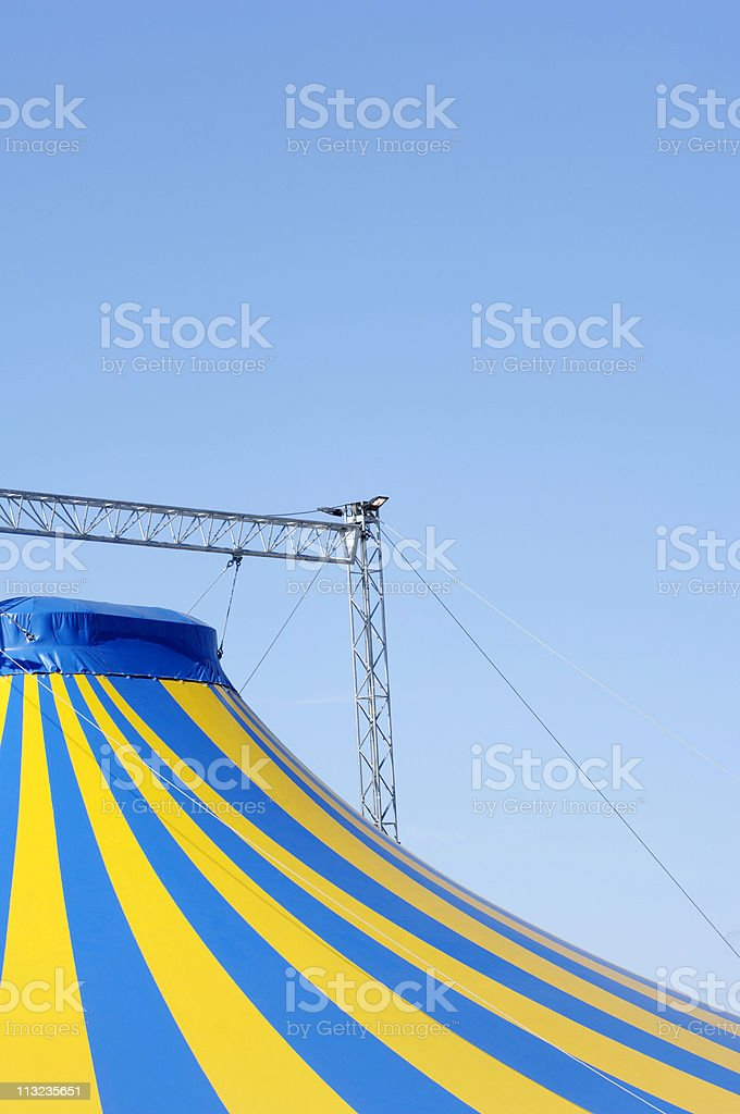 Big top circus tent against blue sky stock photo