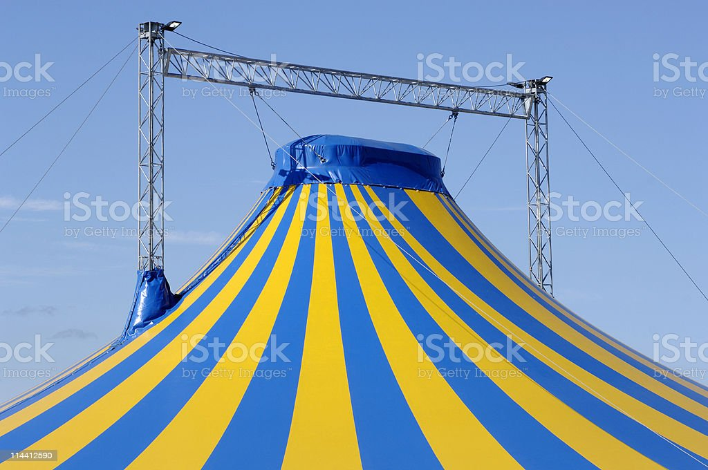 Big top circus tent against blue sky royalty-free stock photo