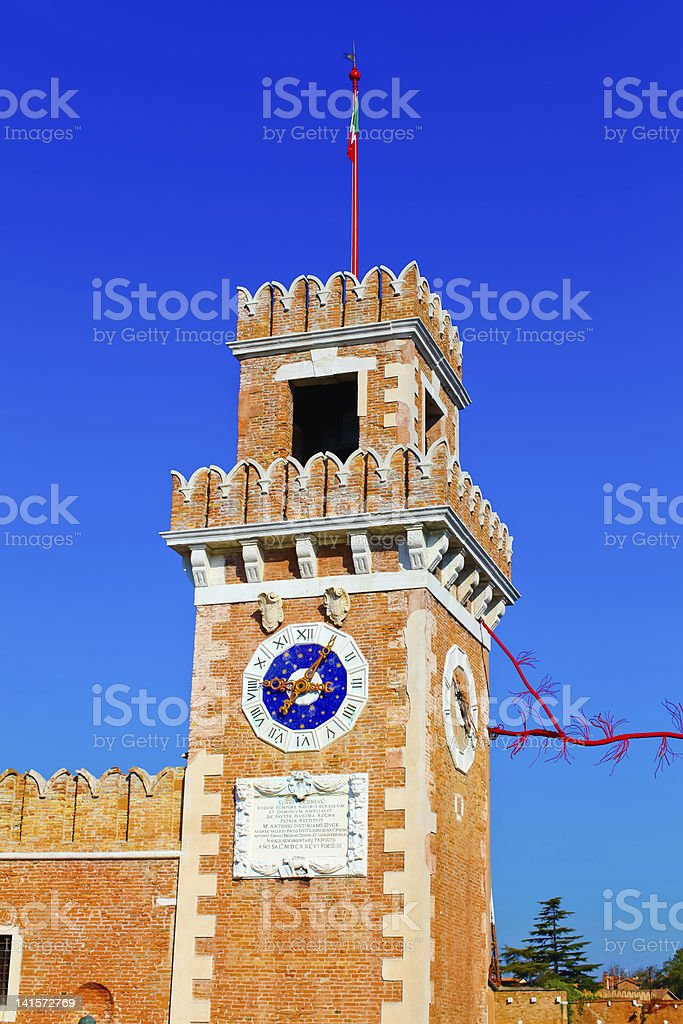 Big tower of Venetian Arsenal, Italy royalty-free stock photo