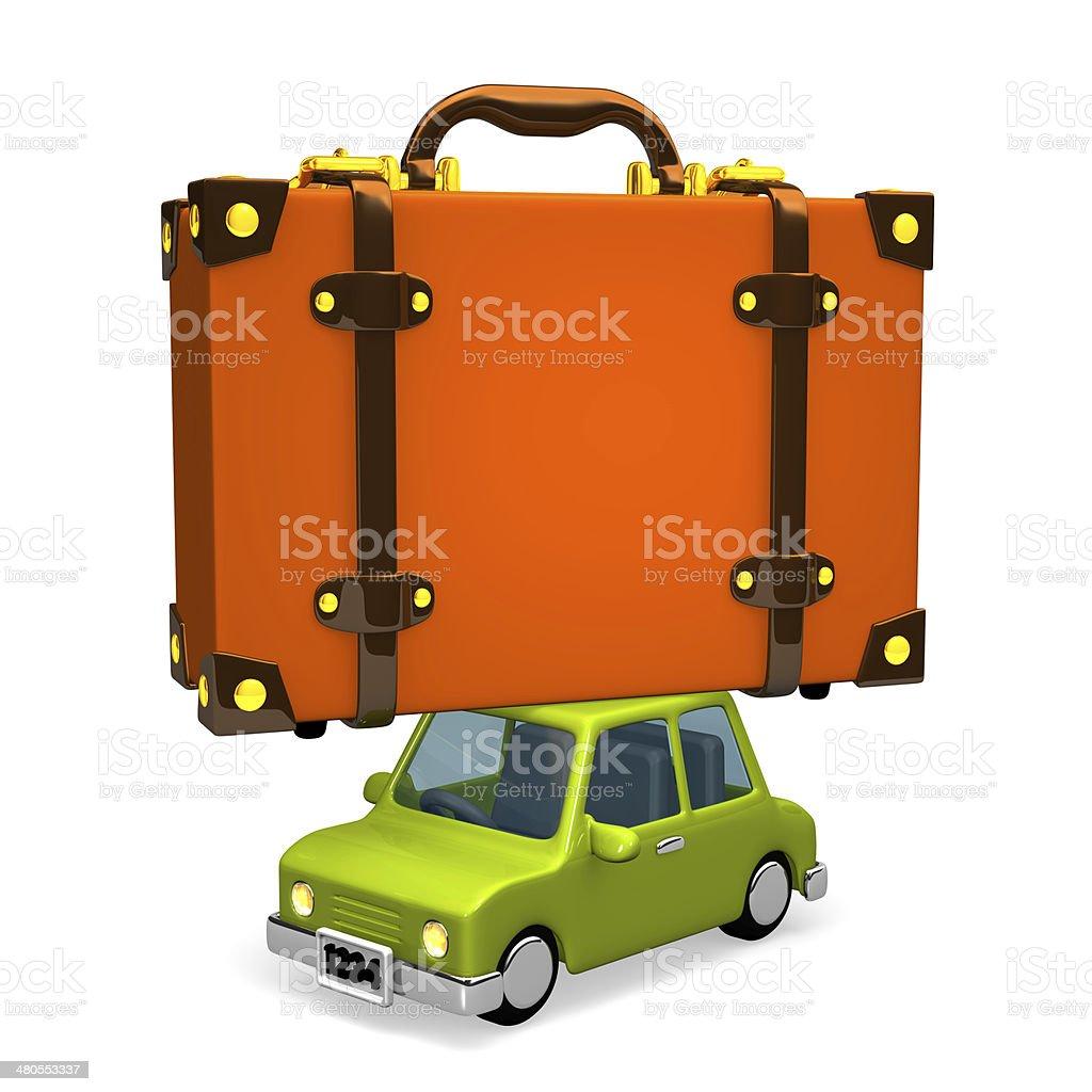 Big Travel Luggage On Car royalty-free stock photo