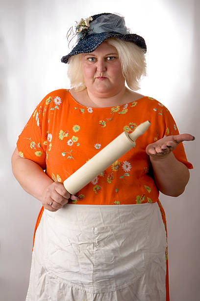 big trouble - funny fat lady stock photos and pictures
